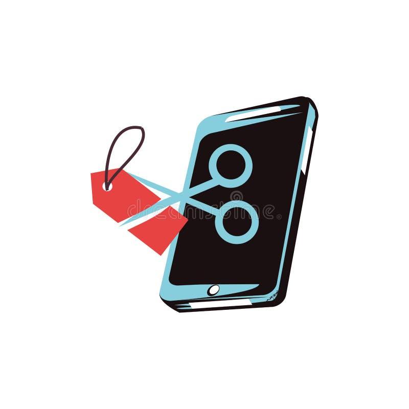 Smartphone z nożyce ikoną royalty ilustracja