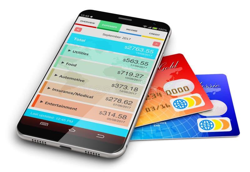 Smartphone z pieniężnym kierownikiem app i bank kredytowymi kartami ilustracja wektor