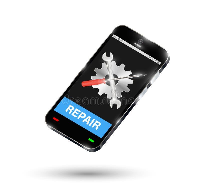 Smartphone z położenie logem na ekranie i remontowym guziku royalty ilustracja