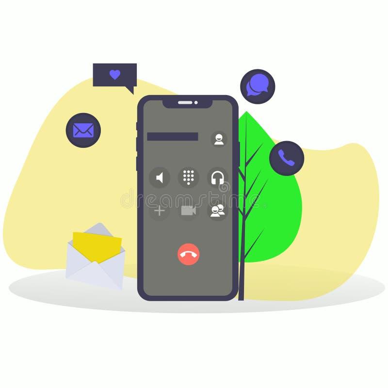 Smartphone z Podaniowymi ikonami royalty ilustracja