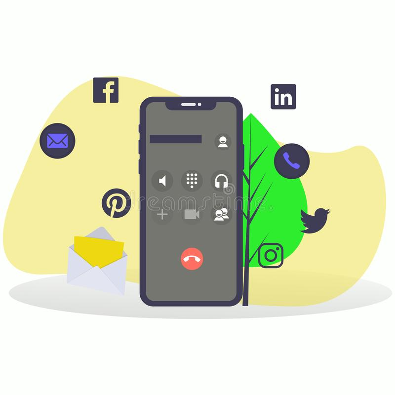 Smartphone z Podaniowymi ikonami ilustracji