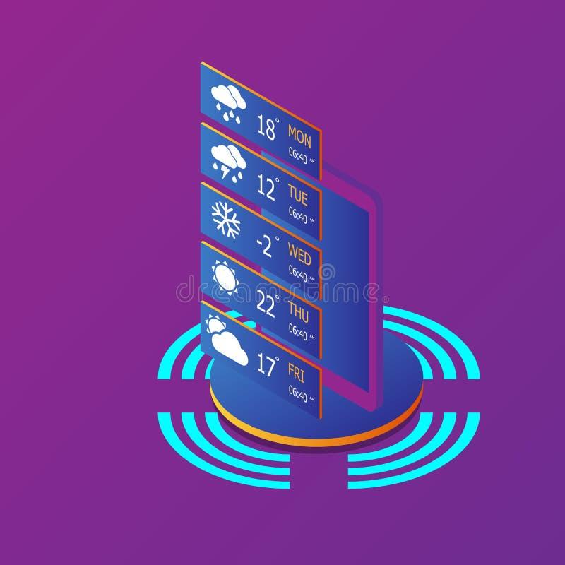 Smartphone z pogodowym zastosowaniem ilustracja wektor