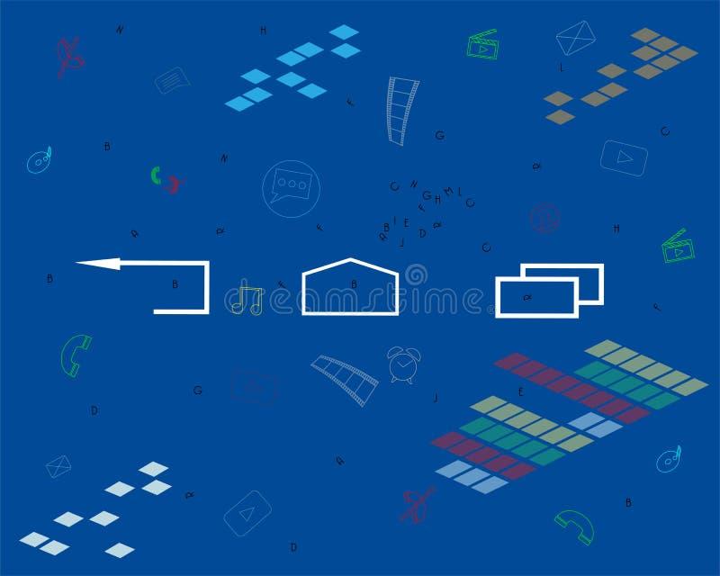 Smartphone z różnymi zastosowaniami, apps, online usługi, oprogramowanie, muzyka ilustracja wektor