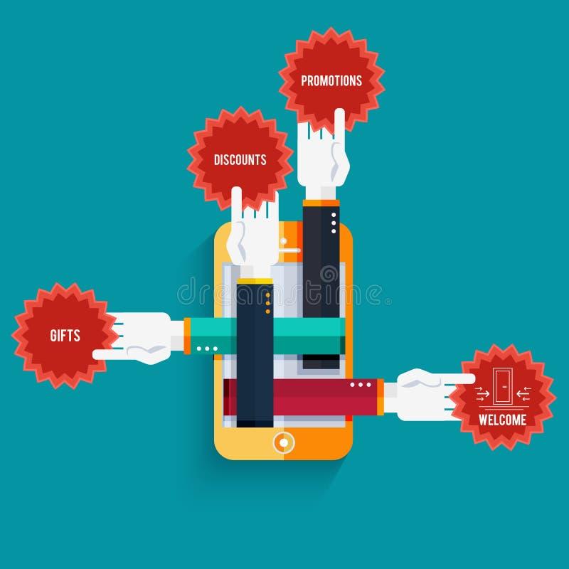 Smartphone z rękami trzyma majcherów z tekstem royalty ilustracja