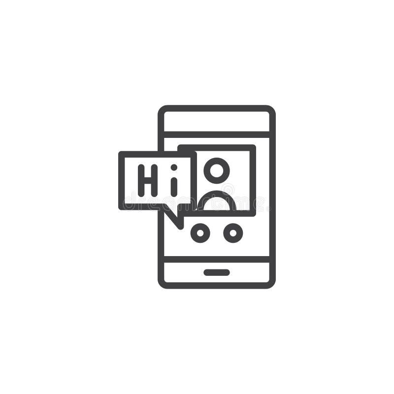 Smartphone z wirtualnym asystentem na ekran linii ikonie ilustracji
