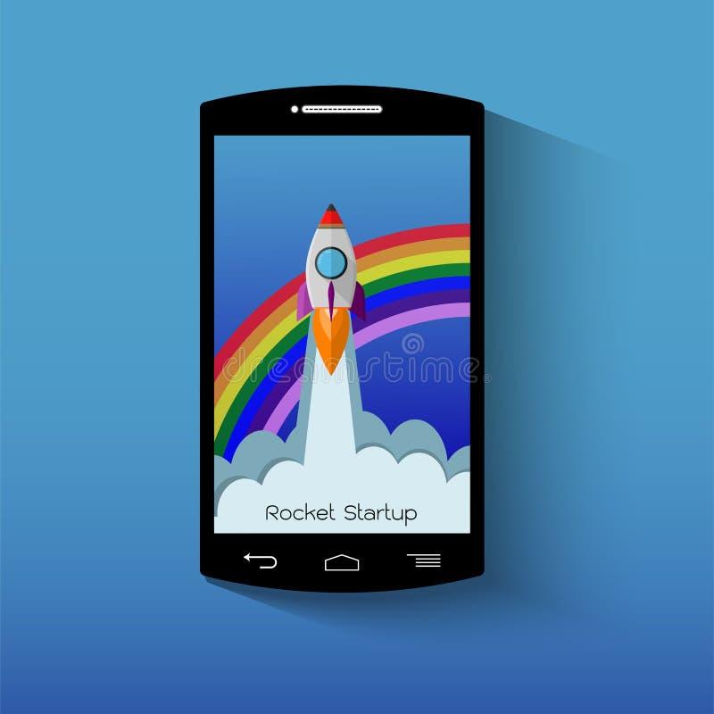 Smartphone z wodowanie rakietą Początkowy pojęcie royalty ilustracja