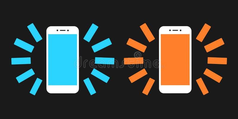 Smartphone z zimnym błękitnym i ciepłym pomarańczowym pokazem ilustracji