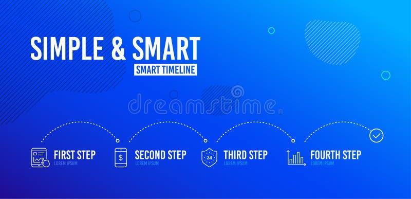 Smartphone-Zahlung, Internet-Bericht und 24 Stunden Ikonensatz Diagrammdiagrammzeichen Vektor stockbild