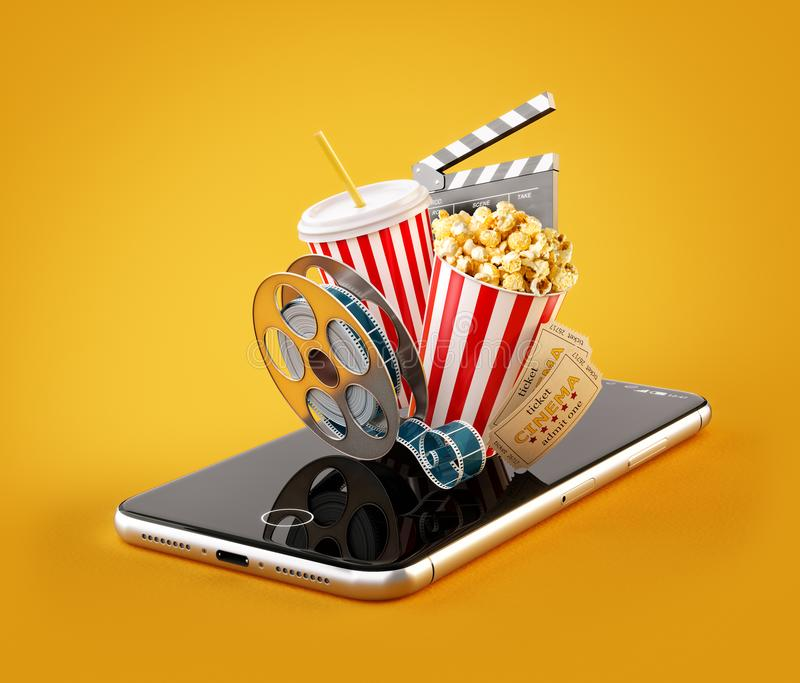 Smartphone zastosowanie dla online kupienia i rezerwaci kina biletów Żywi dopatrywanie filmy, wideo i ilustracja wektor