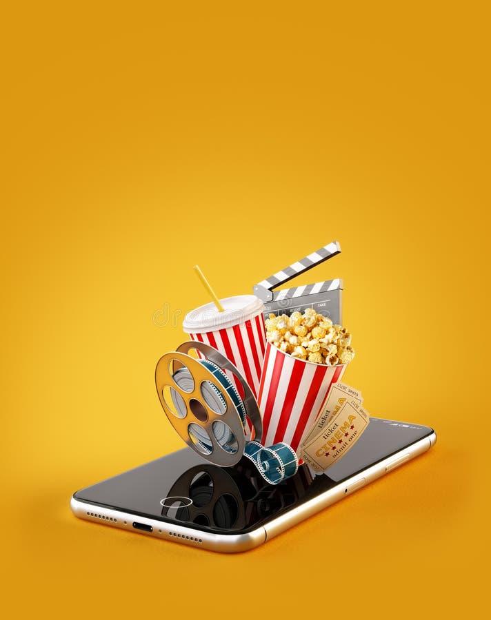 Smartphone zastosowanie dla online kupienia i rezerwaci kina bilet?w ?ywi dopatrywanie filmy, wideo i ilustracji