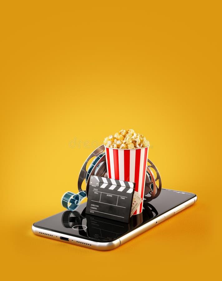Smartphone zastosowanie dla online kupienia i rezerwaci kina bilet?w ?ywi dopatrywanie filmy, wideo i ilustracja wektor