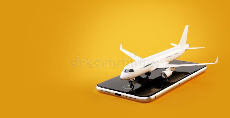 Smartphone zastosowanie dla onlinego gmerania, kupienia i rezerwaci lot?w na internecie, ilustracji