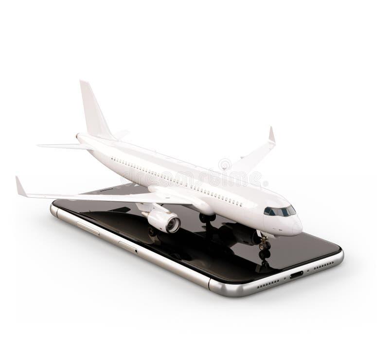 Smartphone zastosowanie dla onlinego gmerania, kupienia i rezerwaci lot?w na internecie, ilustracja wektor