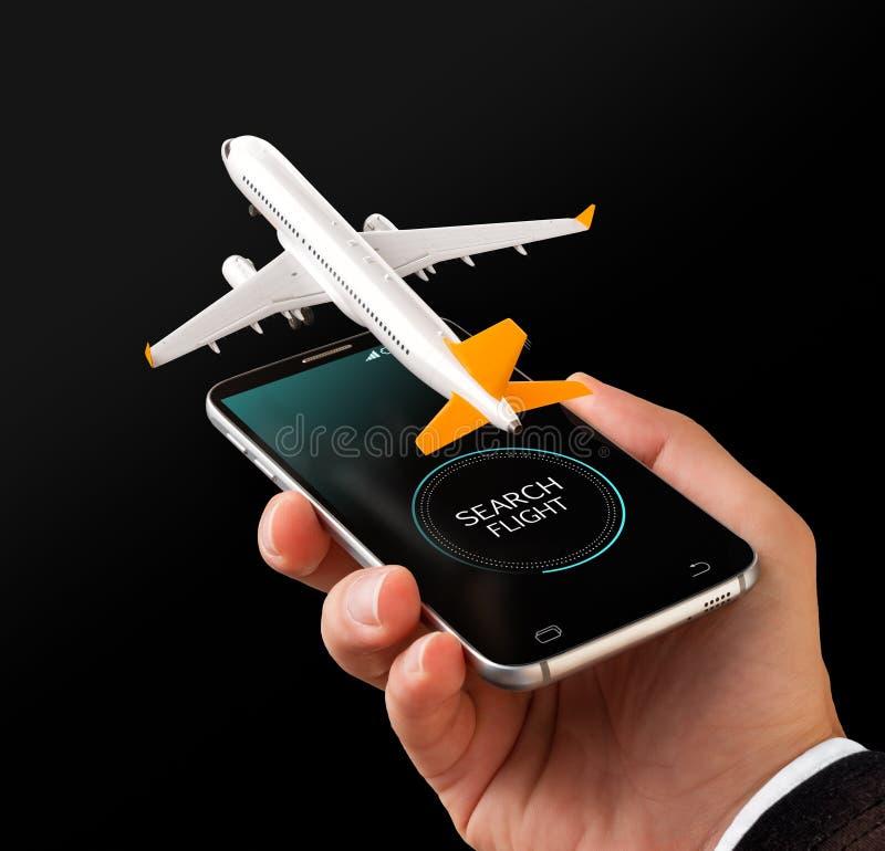 Smartphone zastosowanie dla onlinego gmerania, kupienia i rezerwaci lot?w na internecie, royalty ilustracja