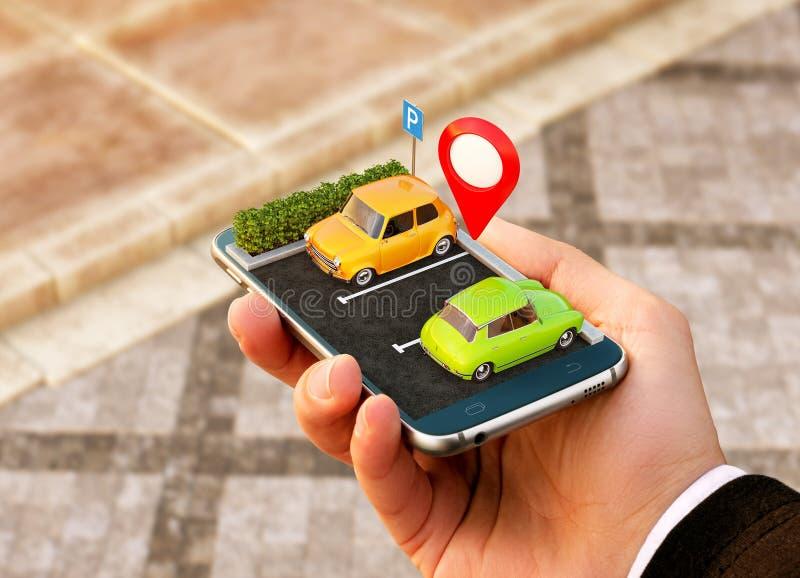 Smartphone zastosowanie dla onlinego gmerania parking bezpłatnego miejsca na mapie GPS nawigacja Parking pojęcie ilustracja wektor