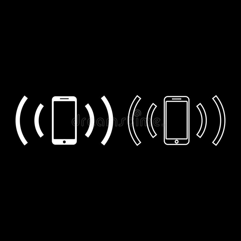 Smartphone zendt radiogolven Correcte golf uit die van het het pictogramoverzicht van het golvenconcept van de de kleuren vectori royalty-vrije illustratie