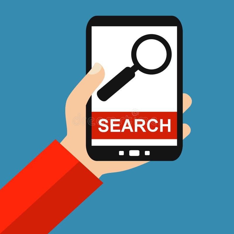 Smartphone: Zoek - Vlak Ontwerp royalty-vrije illustratie