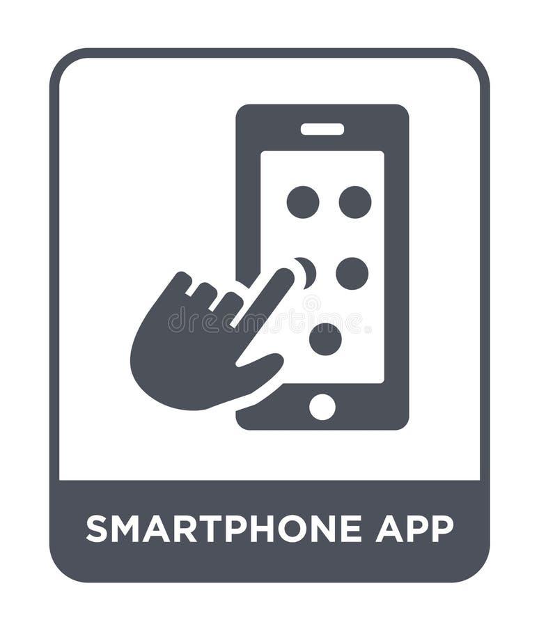 smartphoneapp pictogram in in ontwerpstijl Het pictogram van Smartphone app op witte achtergrond wordt geïsoleerd die smartphonea vector illustratie