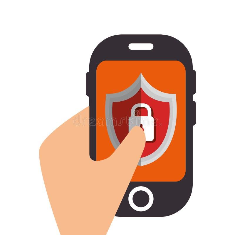 smartphoneapparat med isolerade symbolen för säkerhet den sköld stock illustrationer