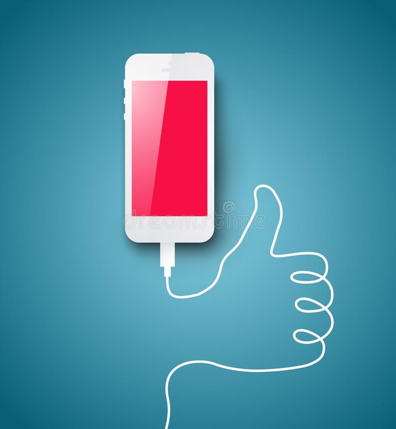 Smartphonee met zich draad het vormen vector illustratie