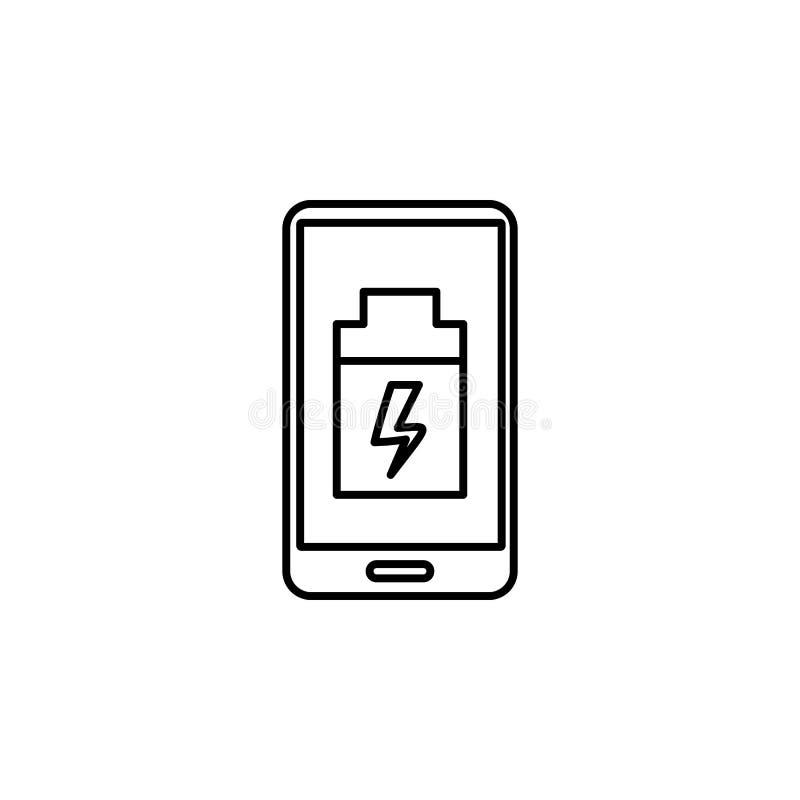 Smartphoneikone der schwachen Batterie Element der Ikone der künstlichen Intelligenz für bewegliche Konzept und Netz apps Dünne L lizenzfreie abbildung