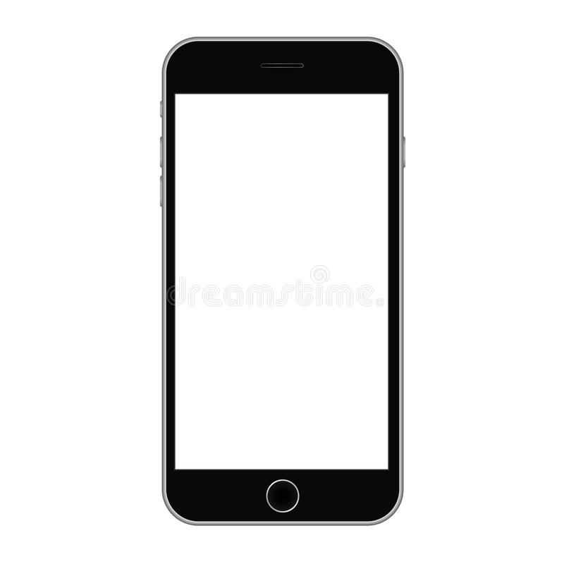 Smartphonein black color with white scree vector. Smartphone mobile icon vector eps10. Realistic mobile iphone with metal gradient vector illustration