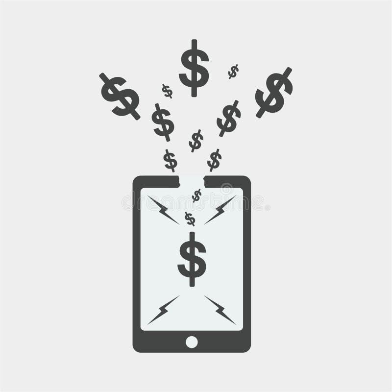 smartphonelägenhetdesign, seodesign, dollarseodesign royaltyfri foto