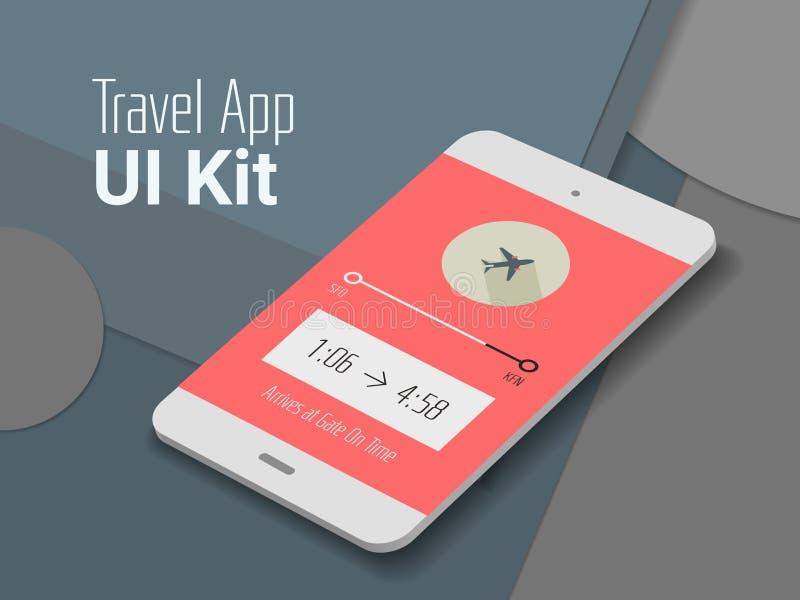 Smartphonemodell APP UI der Reise bewegliches stock abbildung