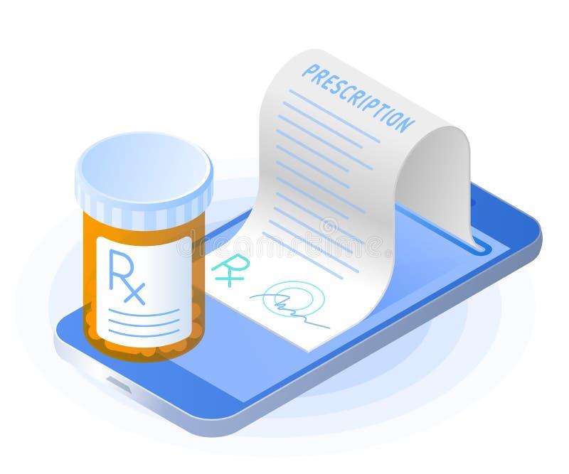 Smartphonen, rxrecept från skärmen, preventivpillerflaska stock illustrationer