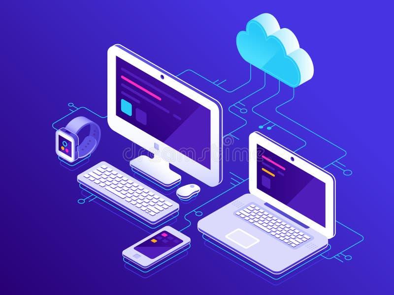 smartphonen surfar på molnet i himmel Datorapparater förbindelse till dataserveren Bärbar datordatorer minnestavla och säker ansl vektor illustrationer