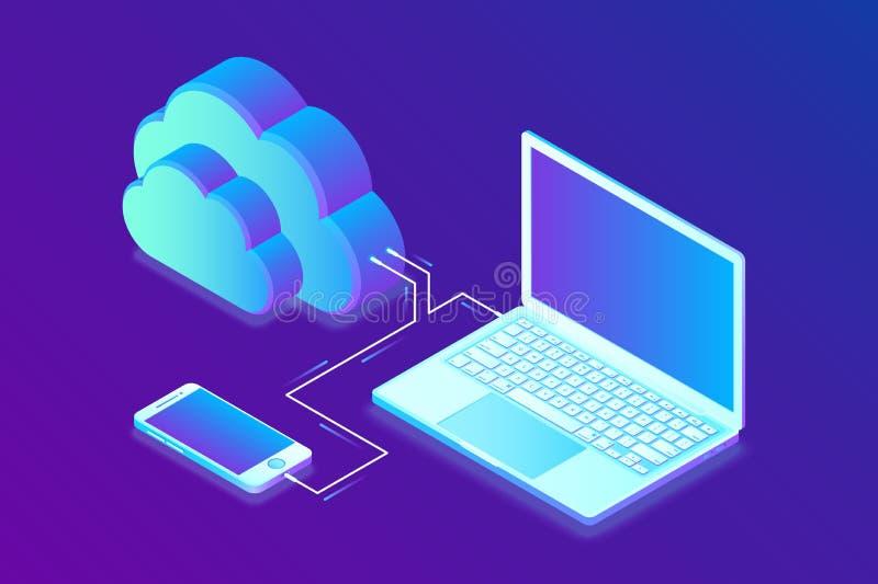 smartphonen surfar på molnet i himmel Isometriskt begrepp för molnberäkningsteknologi med bärbara datorn och Smartphone symboler  vektor illustrationer