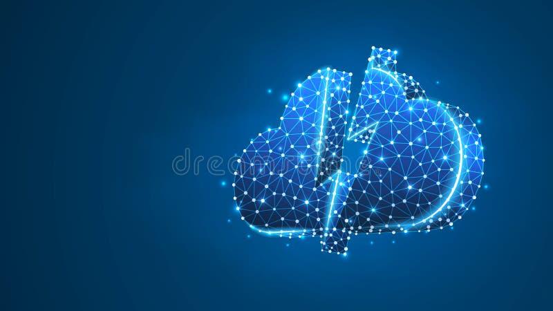 smartphonen surfar p? molnet i himmel Tilltr?de data, internetserverbegrepp Polygonal ber?knande tecken Abstrakt digitalt, wirefr vektor illustrationer
