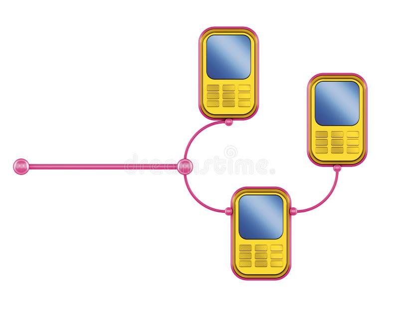 Smartphoneroze van aanslutingen vector illustratie