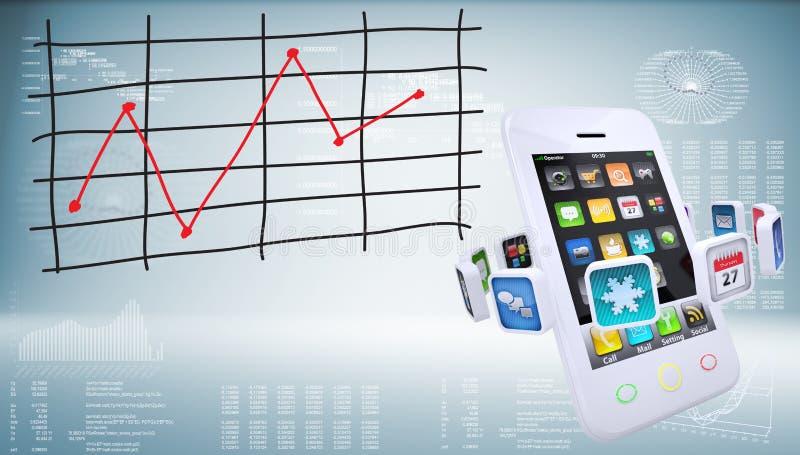 Smartphones με τη γραφική παράσταση των μεταβολών των τιμών στοκ εικόνα