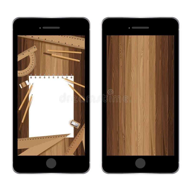 Smartphones με το έγγραφο και μολύβι, κυβερνήτης, γόμα, sharpener στους πίνακες πηχακιών Ξύλινη ταπετσαρία διανυσματική απεικόνιση