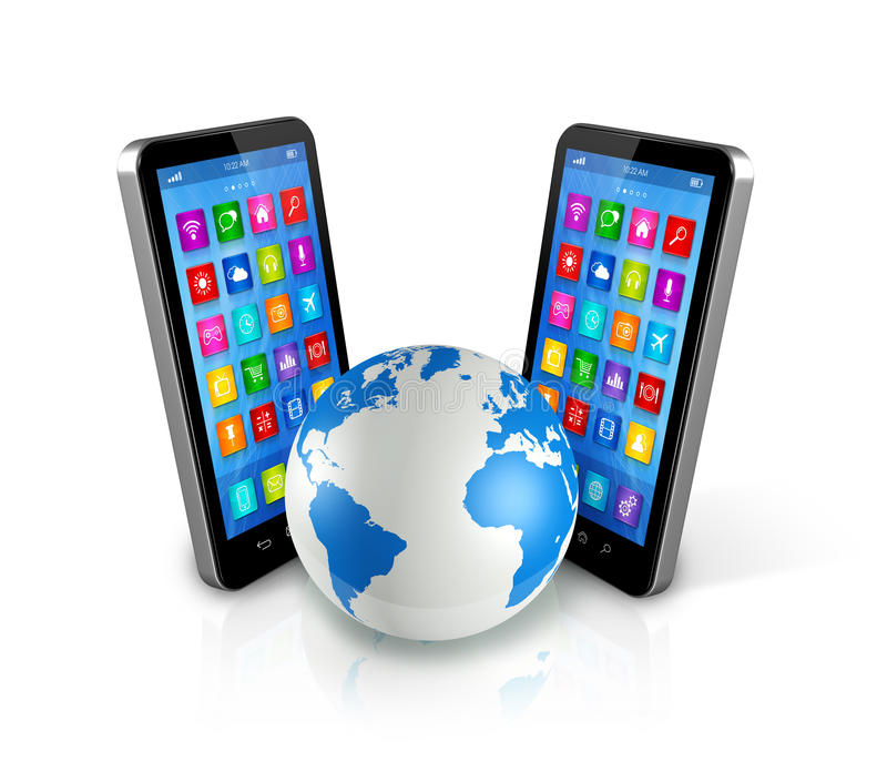Smartphones σε όλη την παγκόσμια υδρόγειο, παγκόσμια επικοινωνία ελεύθερη απεικόνιση δικαιώματος