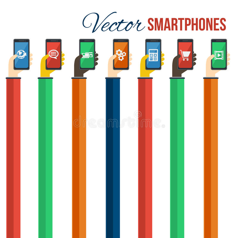 Smartphones στα χέρια Κινητή έννοια apps διάνυσμα απεικόνιση αποθεμάτων