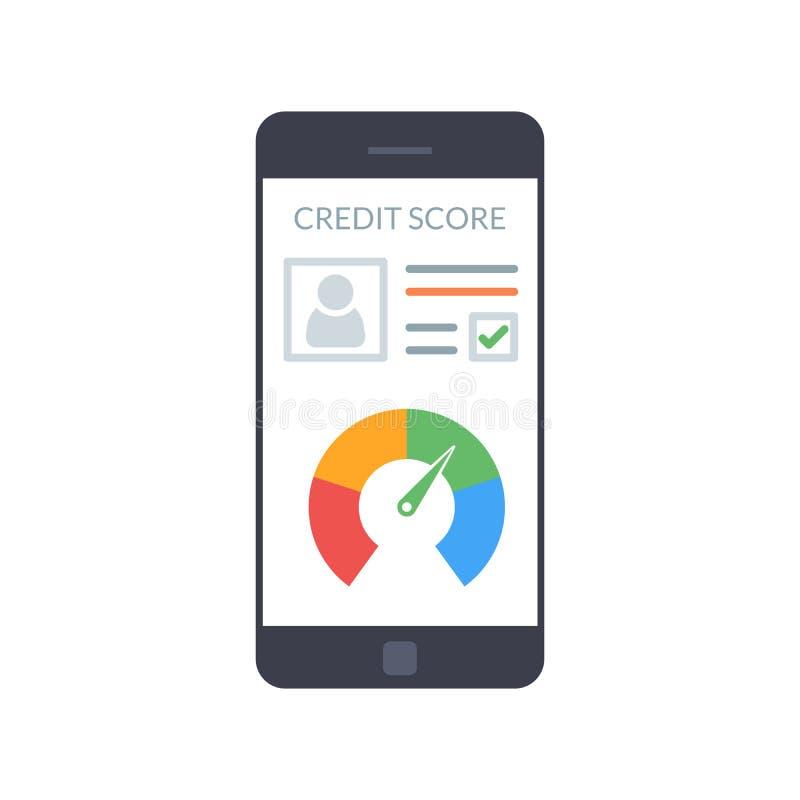 Smartphones с кредитным рейтингом app на экране в плоском стиле Финансовая информация о клиенте вектор иллюстрация вектора