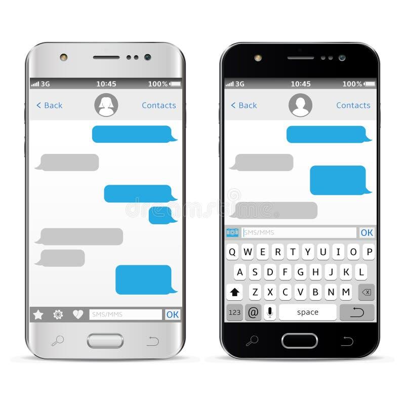 Smartphones с sms послания беседуют на экране изолированном на белой предпосылке иллюстрация вектора
