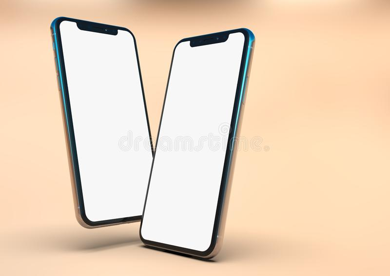 2 iPhone XS smart phones composition, white screen. 2 Smartphones - Apple iPhone Xs Silver, arranged in compact facing composition, on a light warm background vector illustration