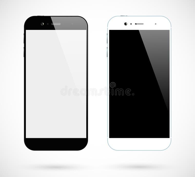 Smartphones bianchi neri illustrazione vettoriale
