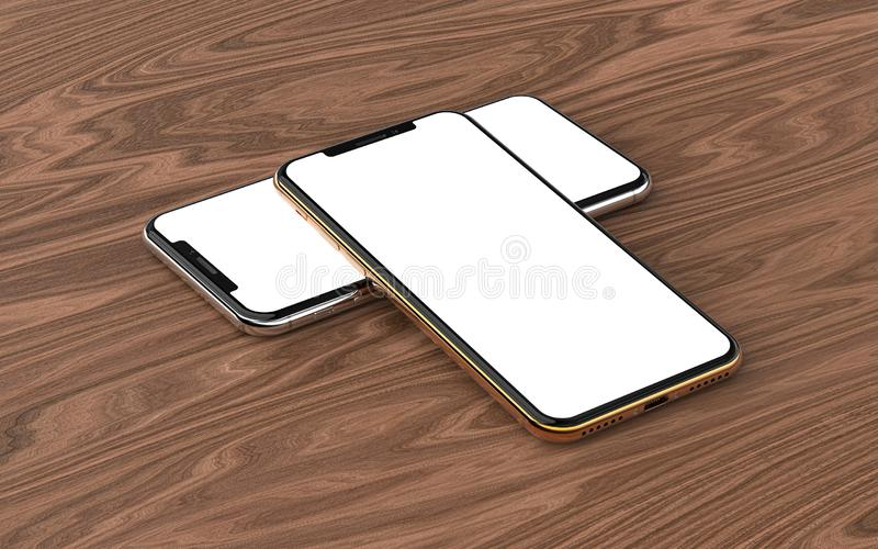 Smartphones with blank screen, isolated on wood background. Smartphones with blank screen, isolated on wood background royalty free stock image