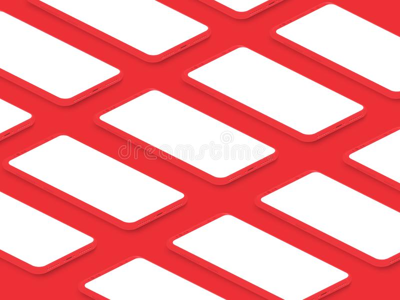 Smartphones brilhantes vermelhos realísticos isométricos do modelo com grade de telas vazias Interface de usuário móvel do app pa ilustração do vetor
