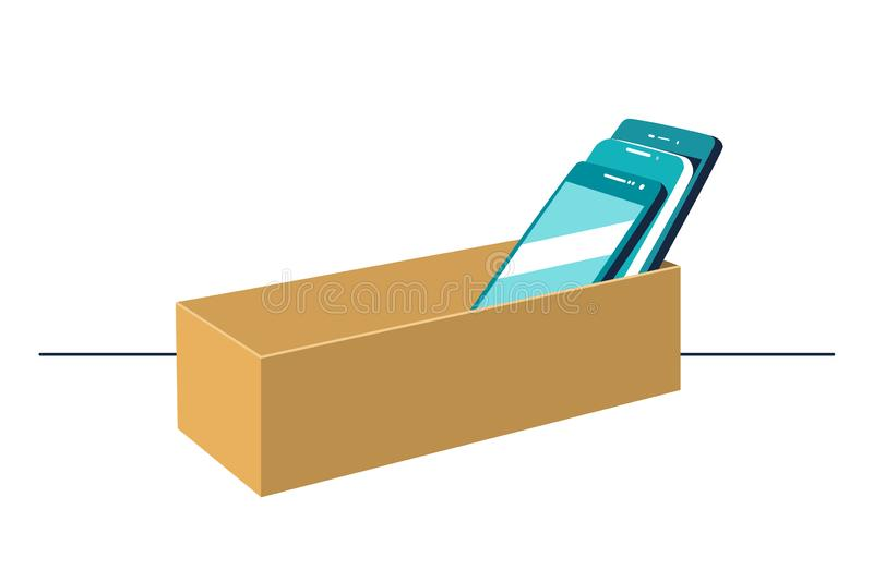 Smartphones in cardboard box symbolizing digital detox concept. Mobile phones rejection, prohibition sign. royalty free illustration