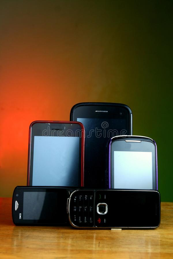 Smartphones and cellphones stock images