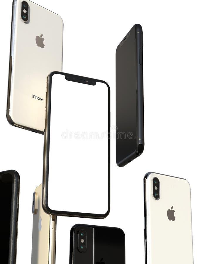 Smartphones cinzentos do ouro, da prata e do espaço de IPhone XS, flutuando no ar, tela branca ilustração royalty free