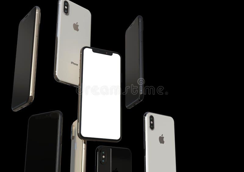 Smartphones cinzentos do ouro, da prata e do espaço de IPhone XS, flutuando no ar, tela branca ilustração do vetor
