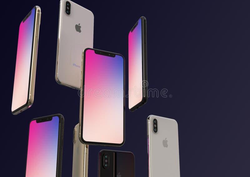 Smartphones cinzentos do ouro, da prata e do espaço de IPhone XS, flutuando no ar, tela colorida imagens de stock royalty free