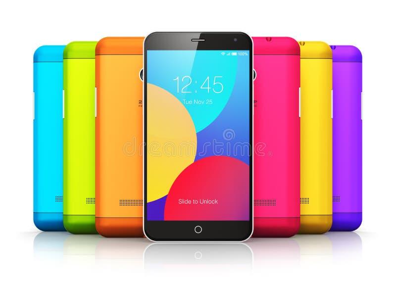 Smartphones con las contraportadas del color ilustración del vector
