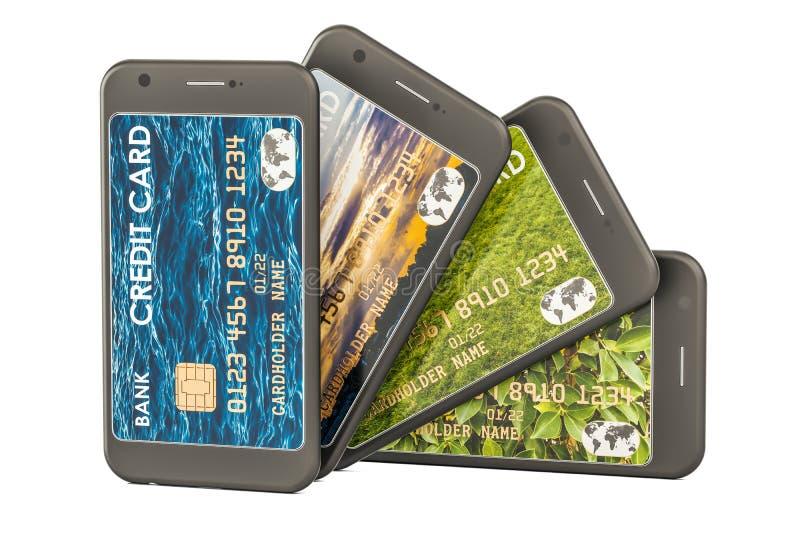 Smartphones con las tarjetas de crédito Cartera electrónica en el teléfono móvil stock de ilustración